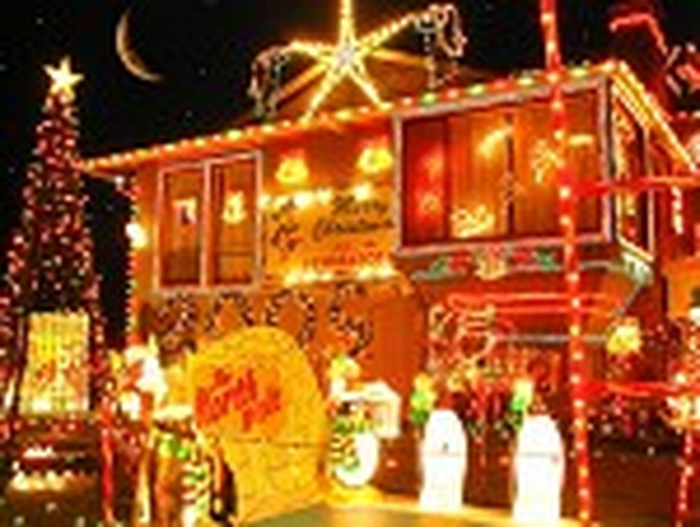 House Decorated with Thousands of Christmas Lights
