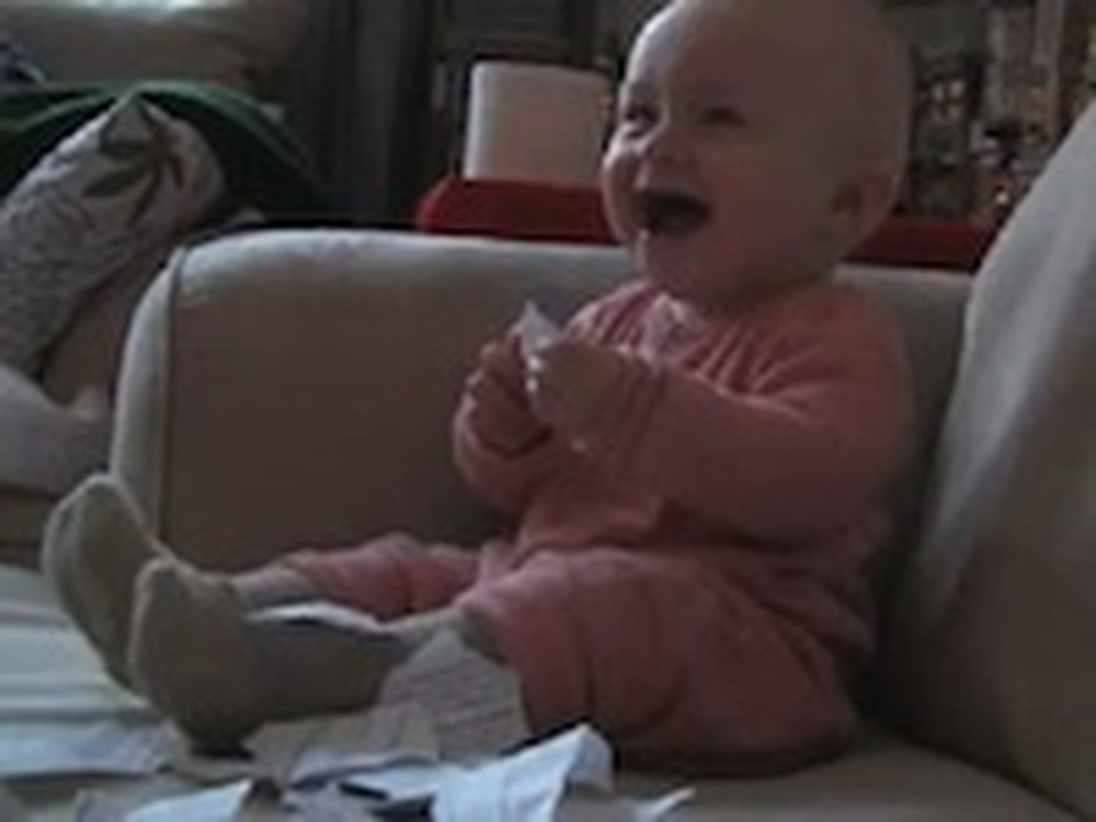Adorable Baby Just Cannot Stop Laughing at Torn Paper