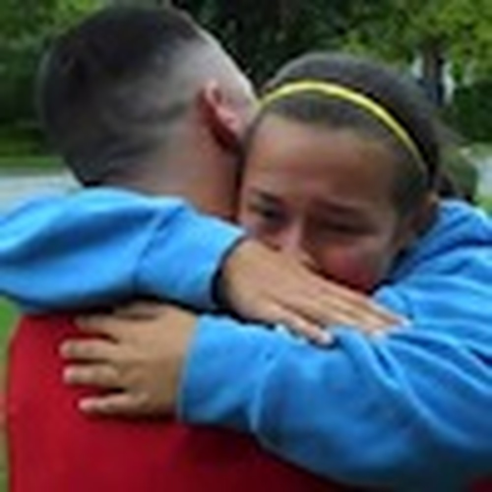 Father Home Early Surprises his Young Daughter