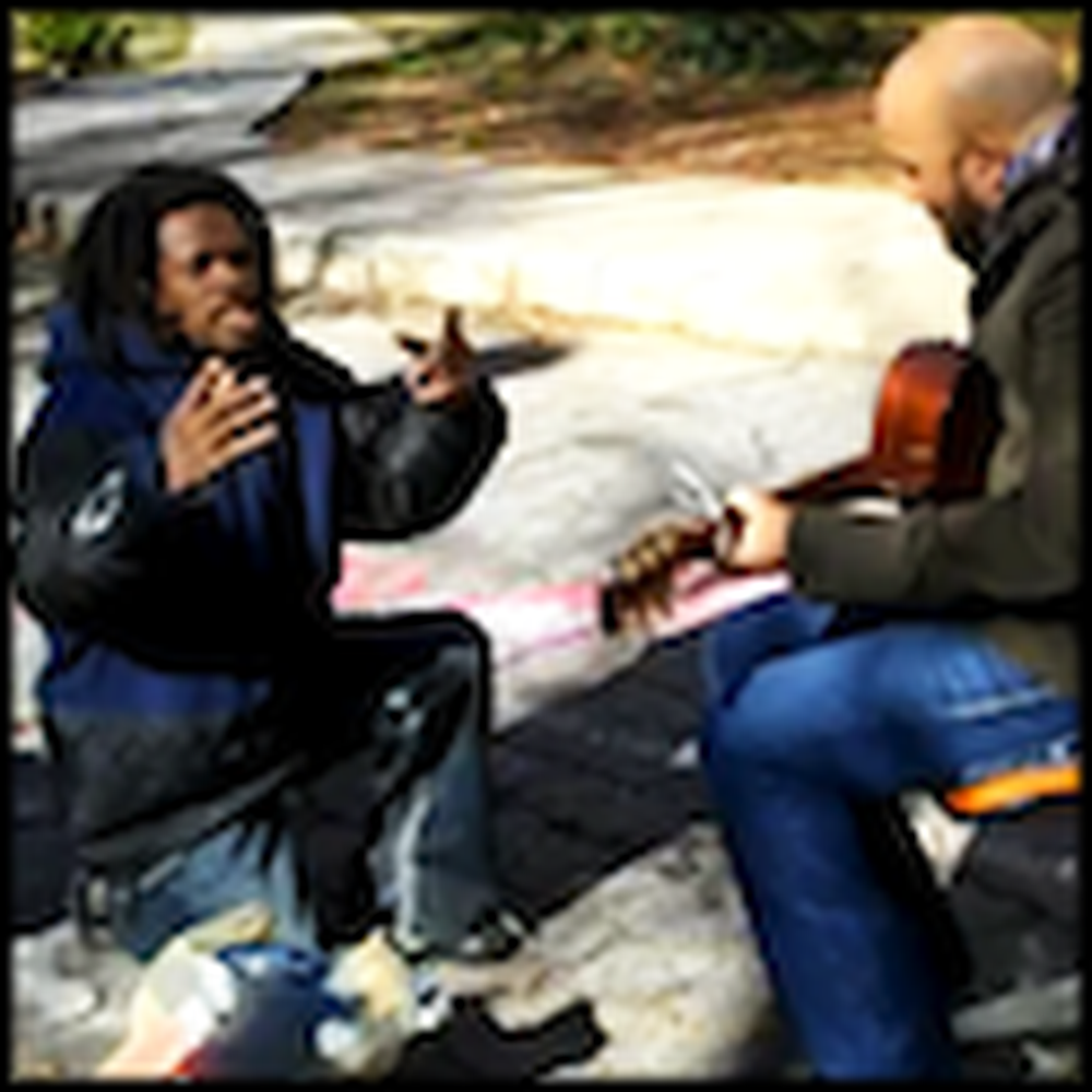 Homeless Man Joins a Musician for a Moving Performance
