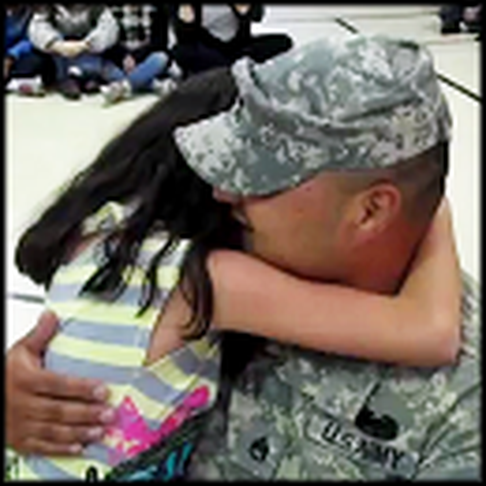 Soldier Home From Iraq Surprises his Daughter - So Tearful