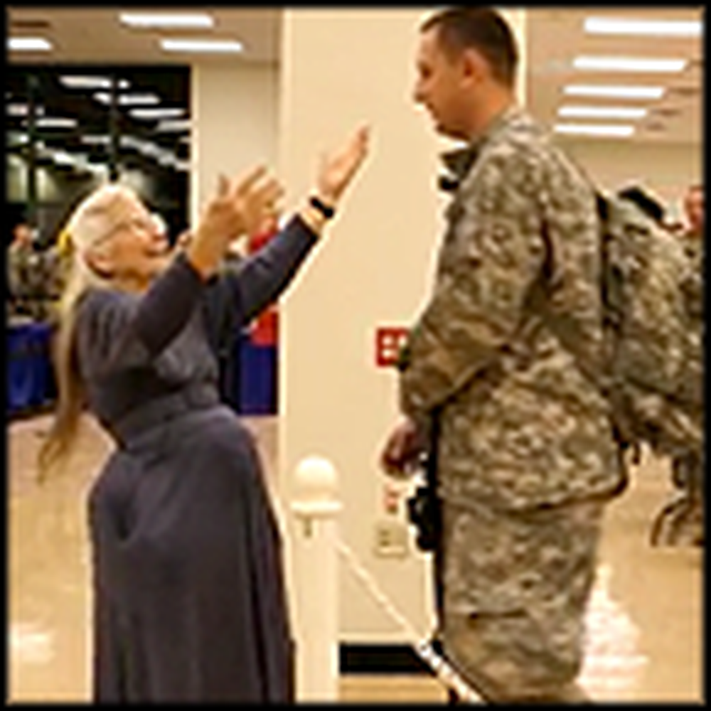 Woman Tries to Hug Every Soldier Who Returns Home - Heartwarming