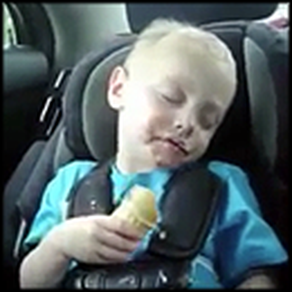 Sleepy Little Boy Tries SO Hard To Finish his Ice Cream