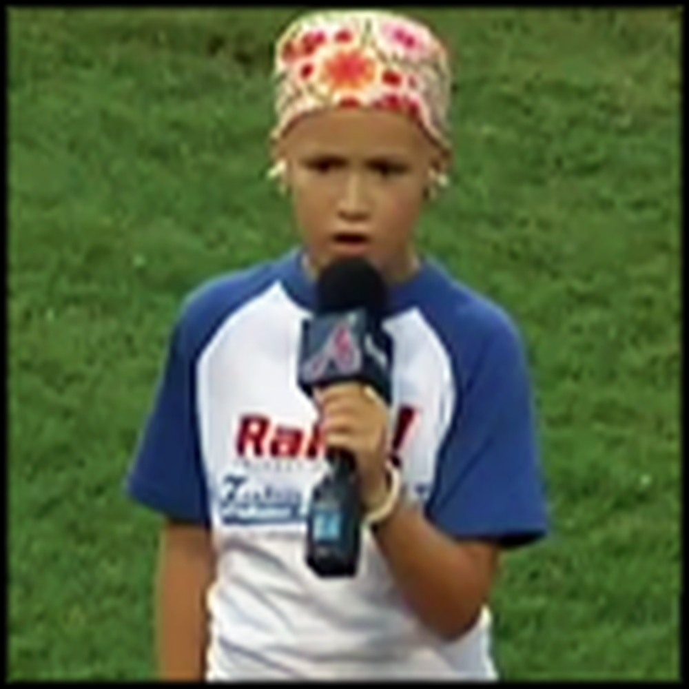 10 Year Old Cancer Patient Sings the National Anthem