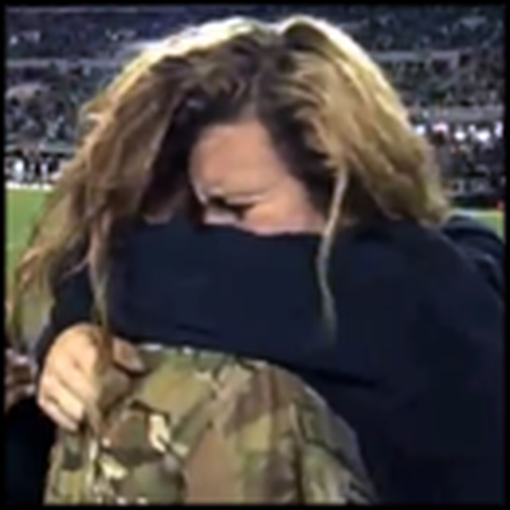 Soldier Surprises Family With Emotional Homecoming at Football Game