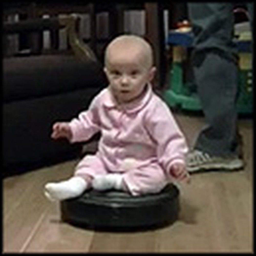 Adorable Baby Loves Riding the Roomba Vacuum