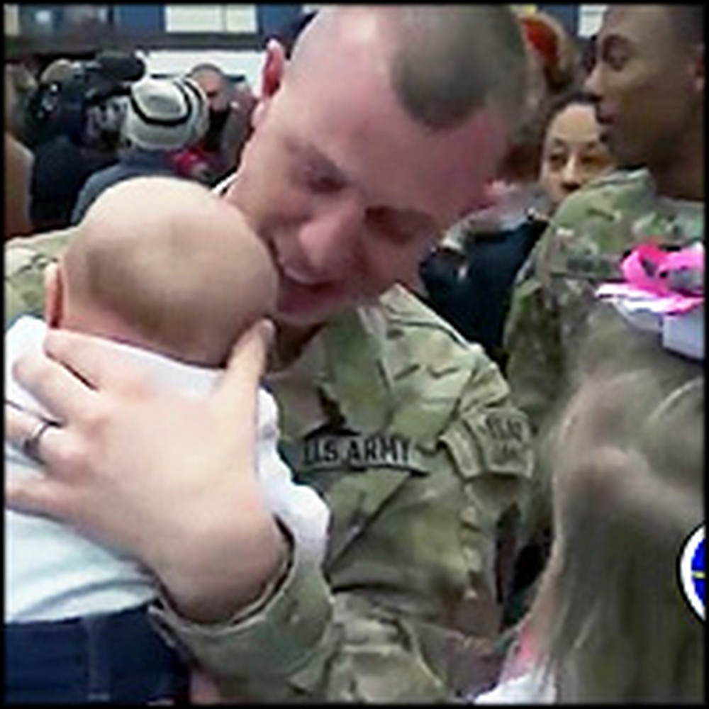 Touching Moment a Soldier Father Meets His Baby for the First Time