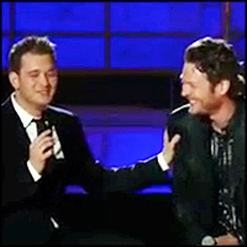 Michael Bublé Gets a Fun Surprise While Performing Home