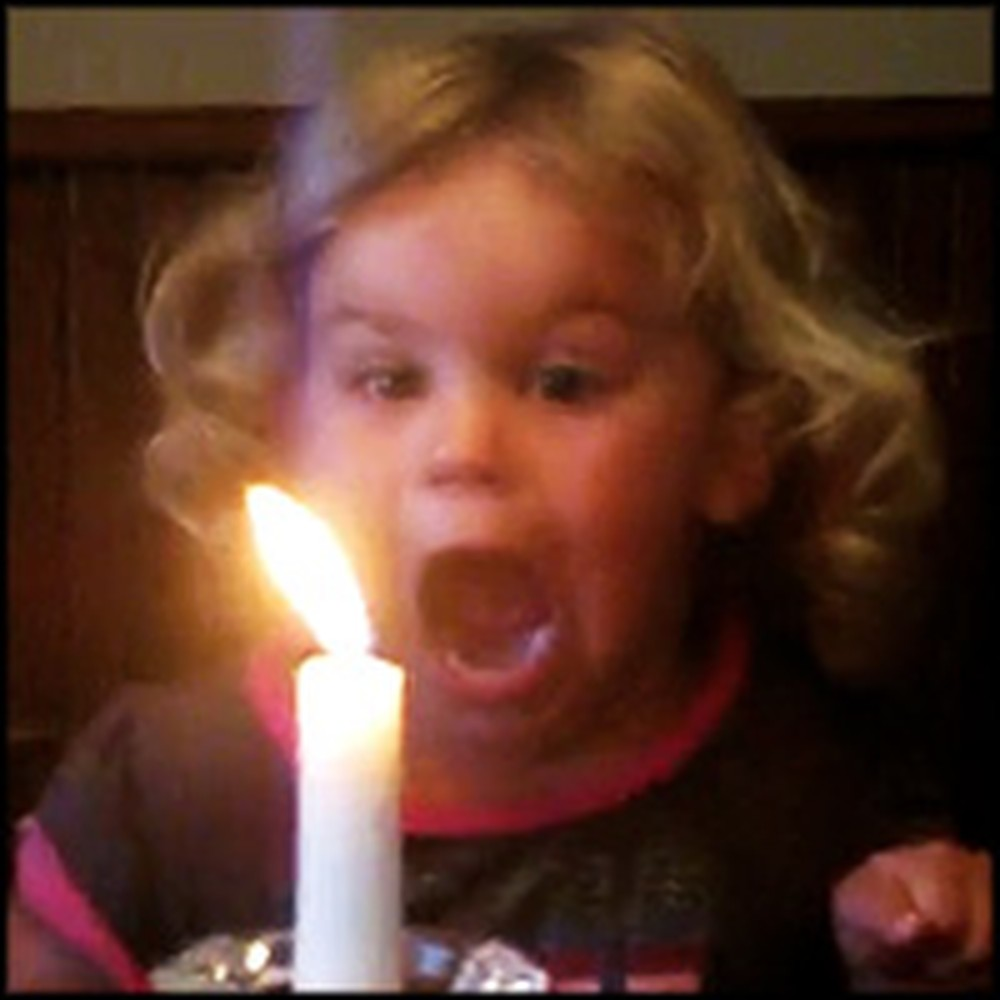 Adorable Little Girl's Hilarious Attempt to Blow Out a Candle