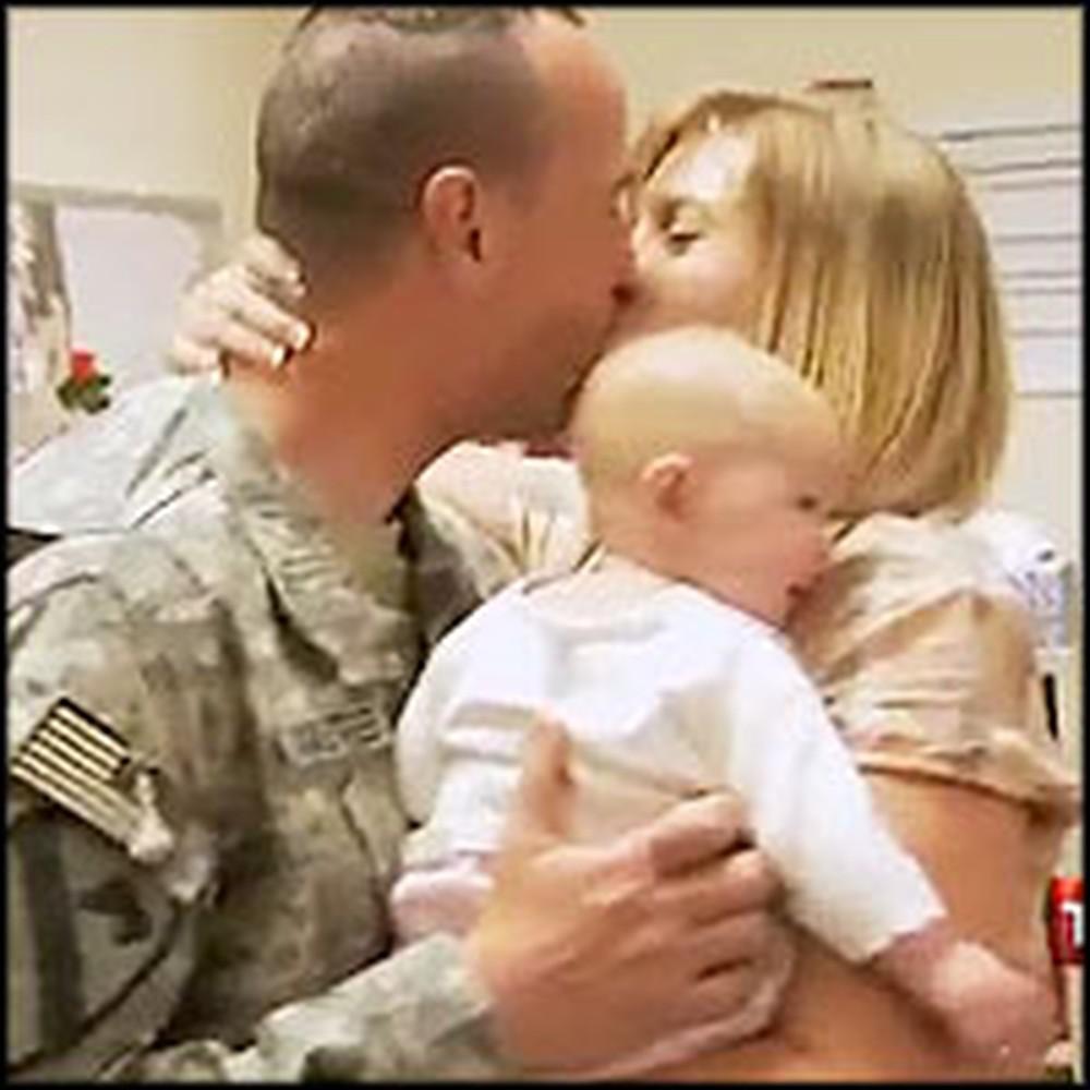 Soldier is Brought to Joyful Tears When He Meets His Newborn Daughter