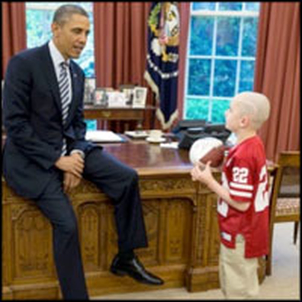 Football Star and 7 Year-Old Brain Cancer Patient Meets the President