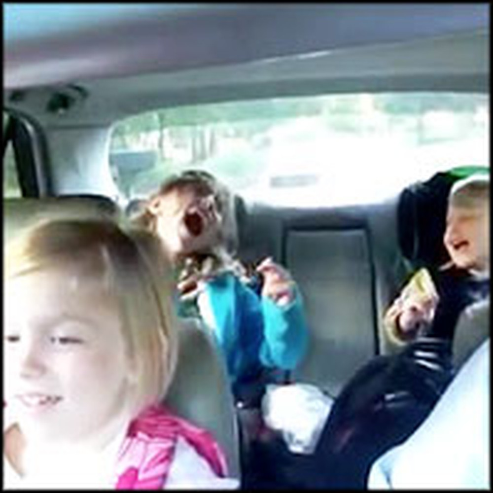 Happy Family Sings Together on the Way to School