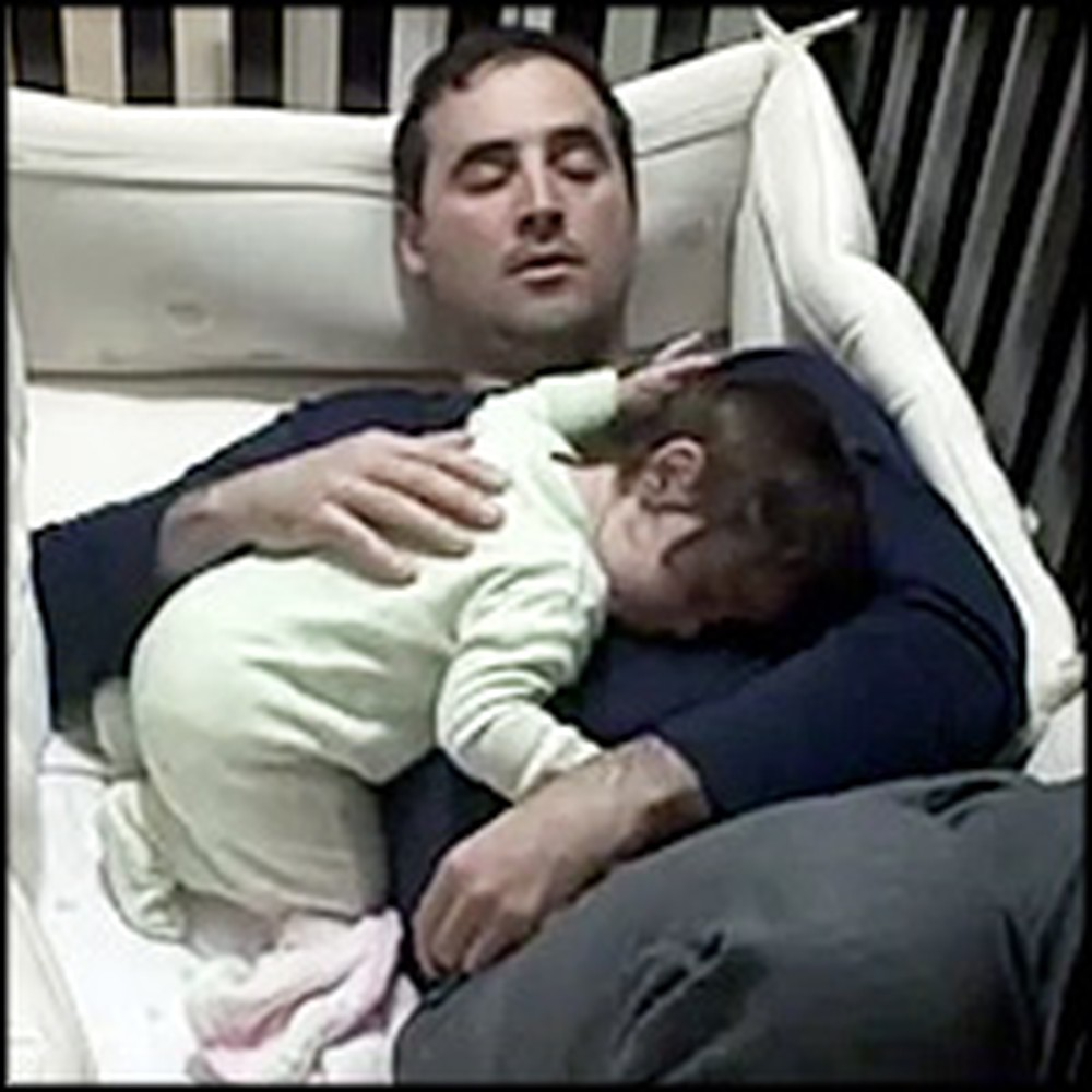 Sweet Daddy Climbs into Crib to Comfort Crying Baby