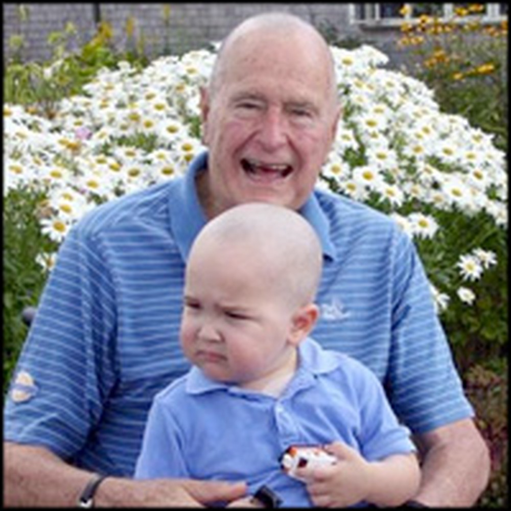 Former President George Bush Shaves Head for Little Boy with Cancer