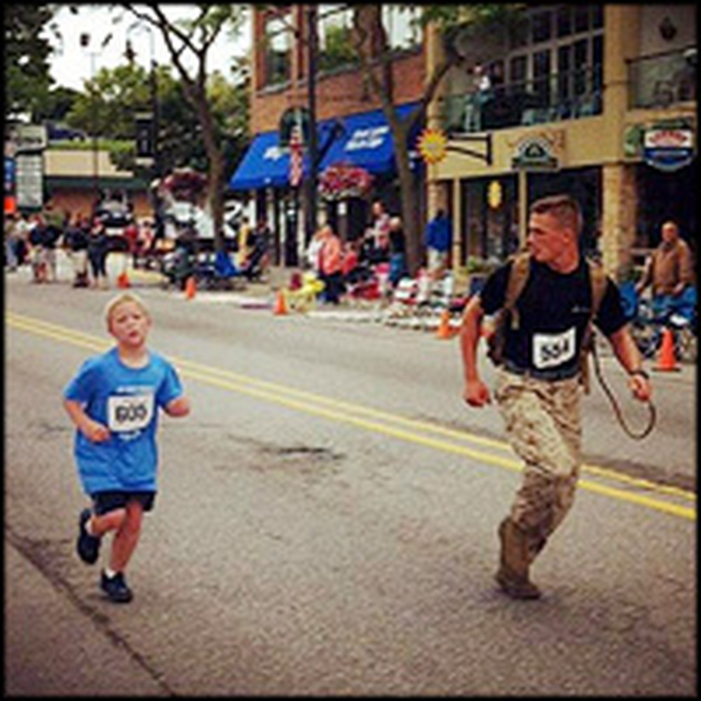 Caring Marine Runs a 5K with Small Boy Struggling to Finish