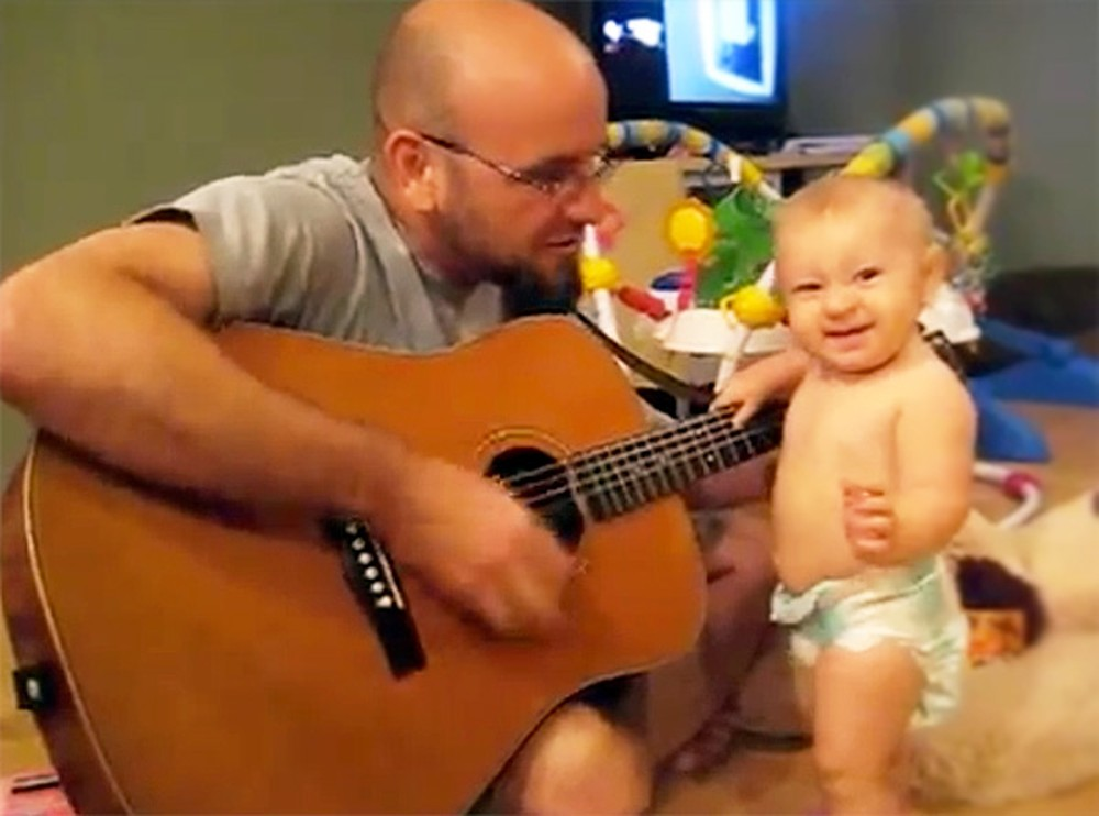 Awesome Baby Rocks Out Alongside Daddy - Soooo Sweet!