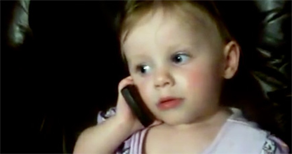 Sweet Angel Tries to Talk to Daddy on the Cell Phone - and It's SO Cute