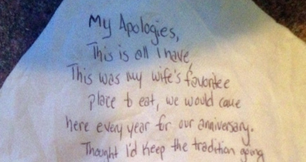 This Man Left Behind a Note at a Restaurant. It'll Make You Cry!