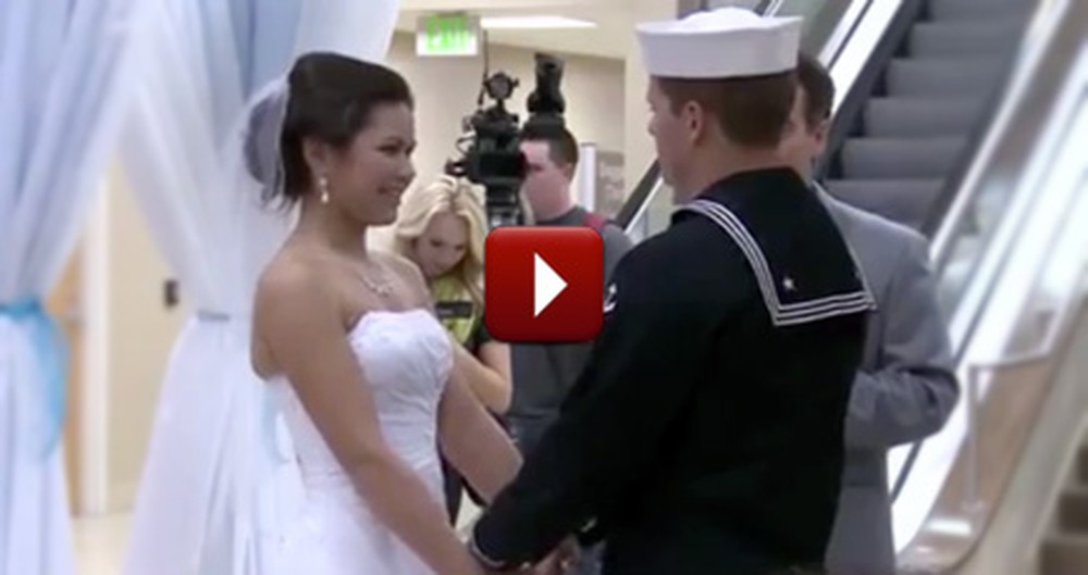 Navy Sailor Literally Couldn't Wait to Marry His Sweetheart - So They Did This