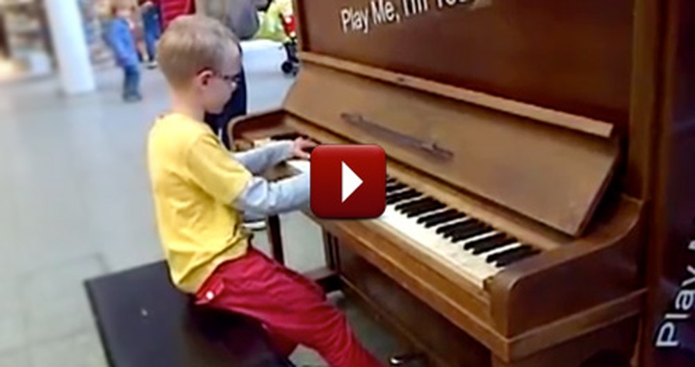 A Random Boy Sits Down at a Piano on Display and Does Something Amazing