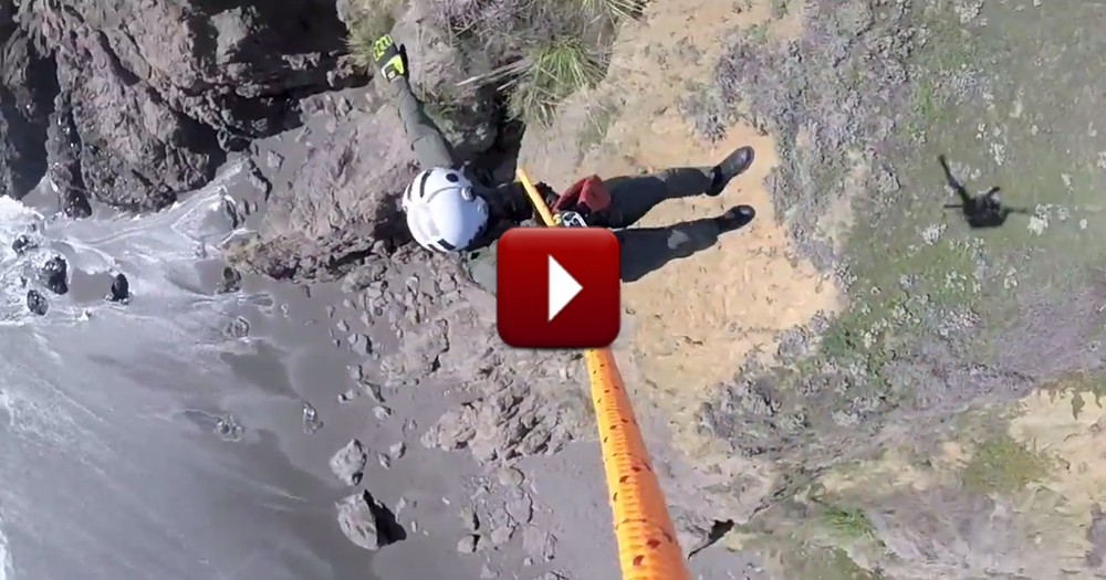 You'll Hold Your Breath During this Daring Rescue of a Dog Trapped on a Cliff