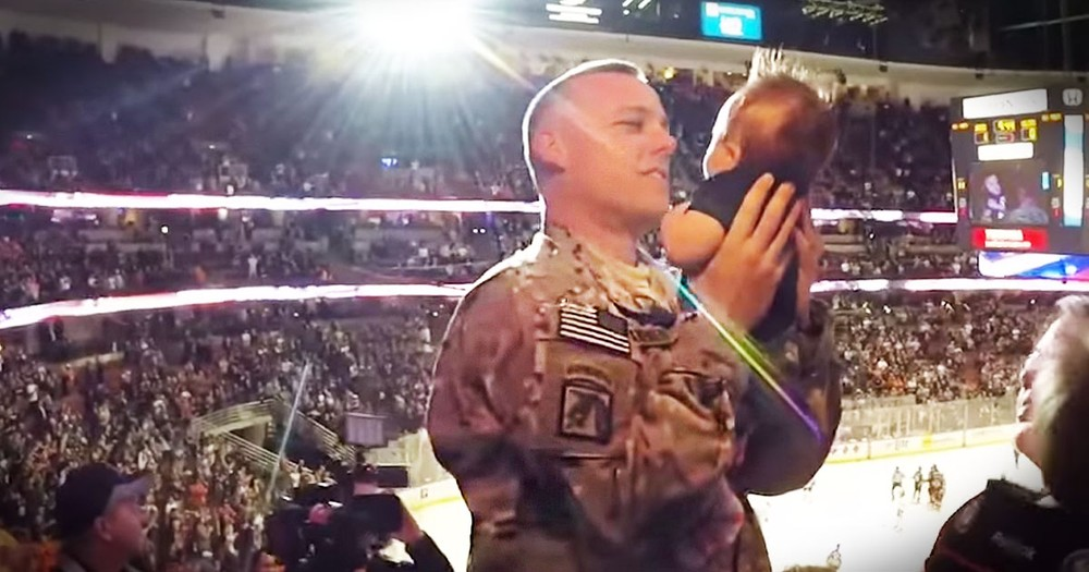 Soldier Surprises His Family And Meets His Son For The Very First Time