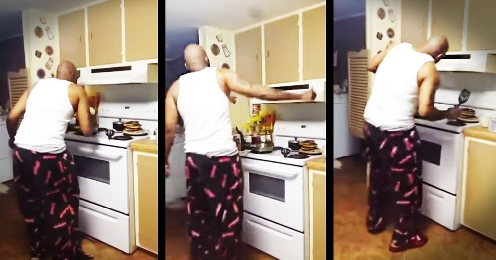 Kids Bust Dad Dancing In The Kitchen - You Go Daddy!