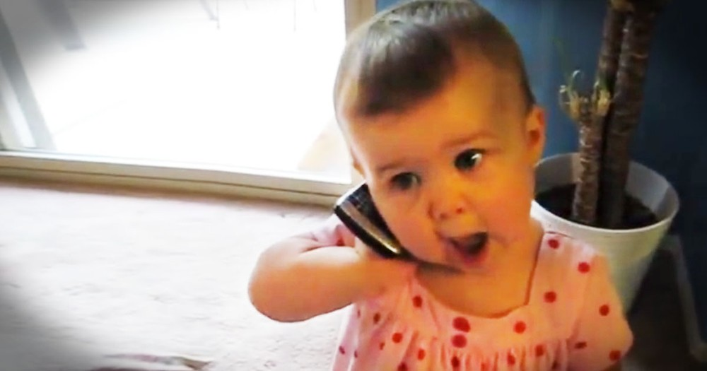 Precious Baby Babbles to Her Daddy on a Cell Phone