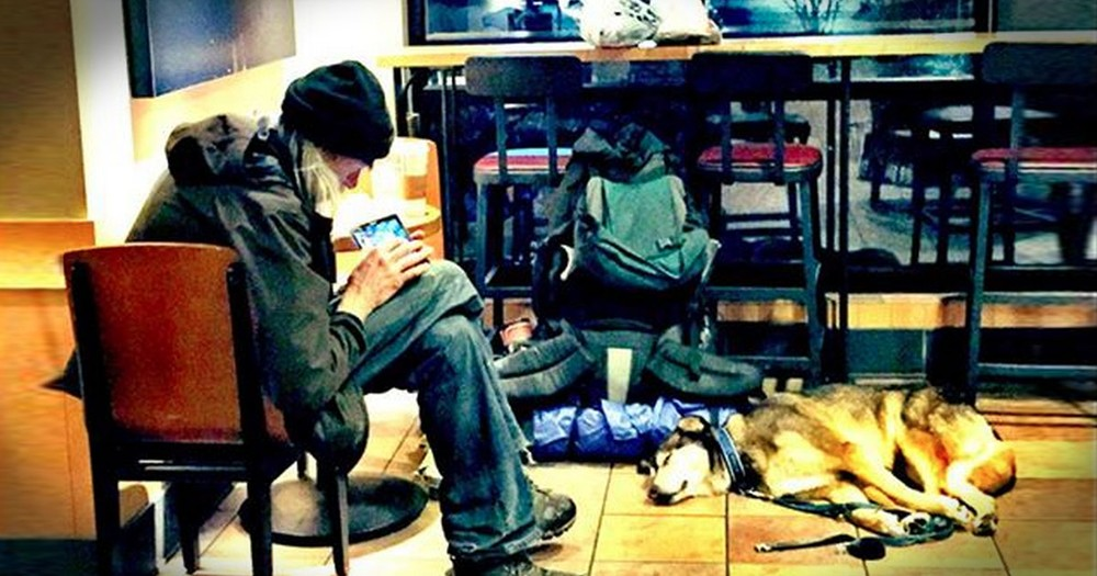 What Happened To This Homeless Man And His Dog In Starbucks--TEARS!