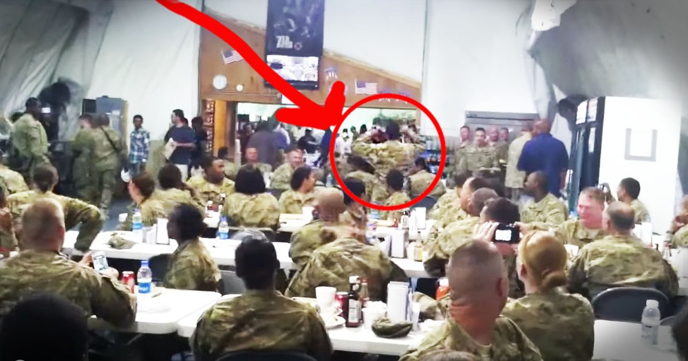 It Looked Like A Normal Day In The Mess Hall Until One Soldier Stood Up!