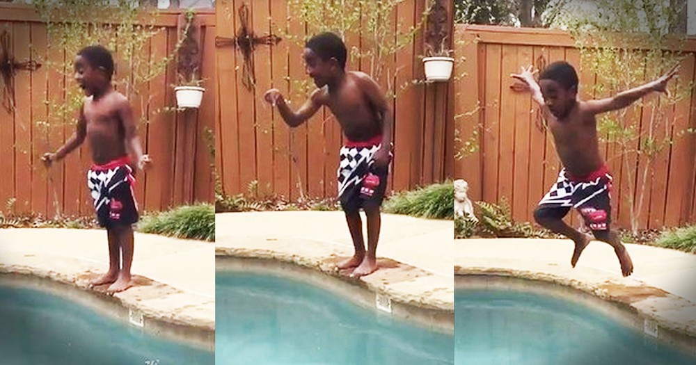 Little Boy's Poolside Pep Talk Will Have You Cheering