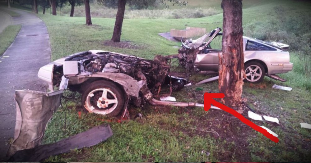 This Man Miraculously Survived A Horrific Crash That Split His Car In 2. WOW!