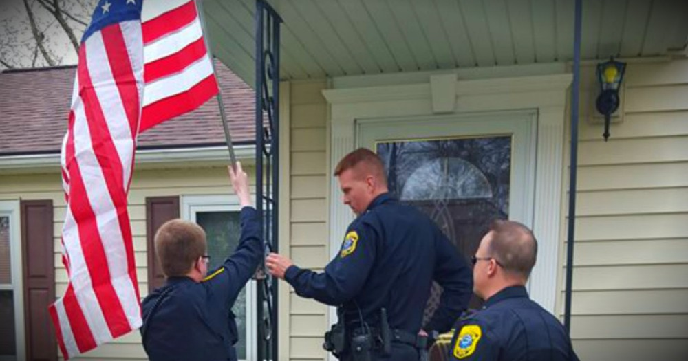 A Thief Stole The Flag Hung By A Veteran's Widow, So Police Did THIS!