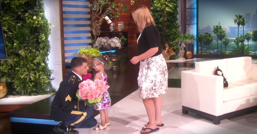 Soldier's Surprise Homecoming For Tiny Gymnast Is Beautiful