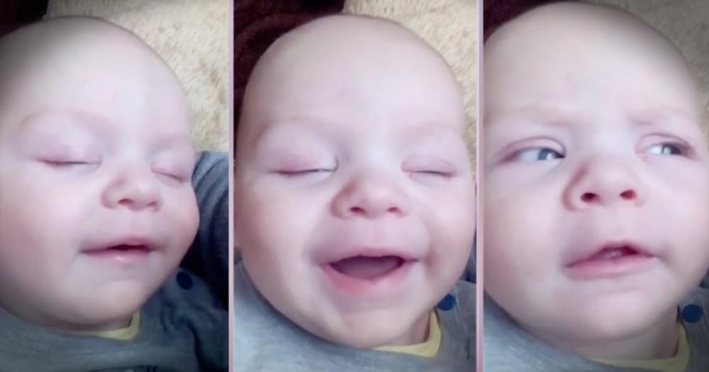 Baby Giggling Himself Awake Is TOO Cute