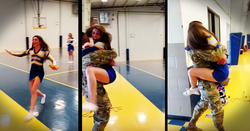 Cheerleader Gets Tearful Homecoming Surprise From Her Hero Big Brother