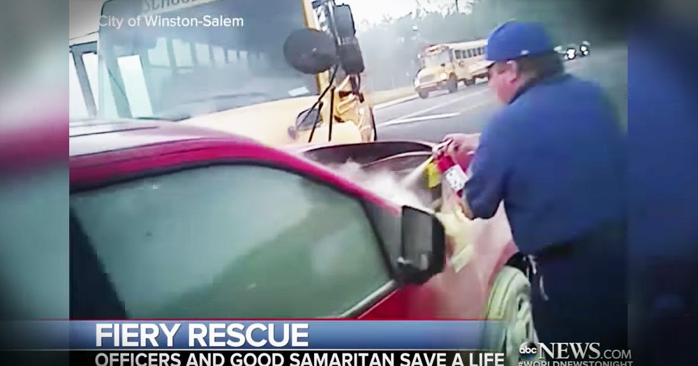 First Responders And Good Samaritans Rescue Driver Trapped In A Burning Car