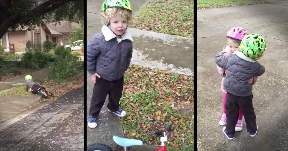Brother Gets Sweetest Hug From His Sister After Wiping Out On His Bike