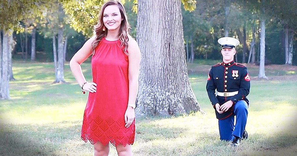Marine Surprises Girlfriend With Beautiful Proposal Before Deployment