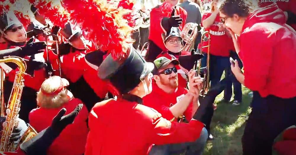 Marching Band Helps Guy Pull Off The Sweetest Surprise Proposal