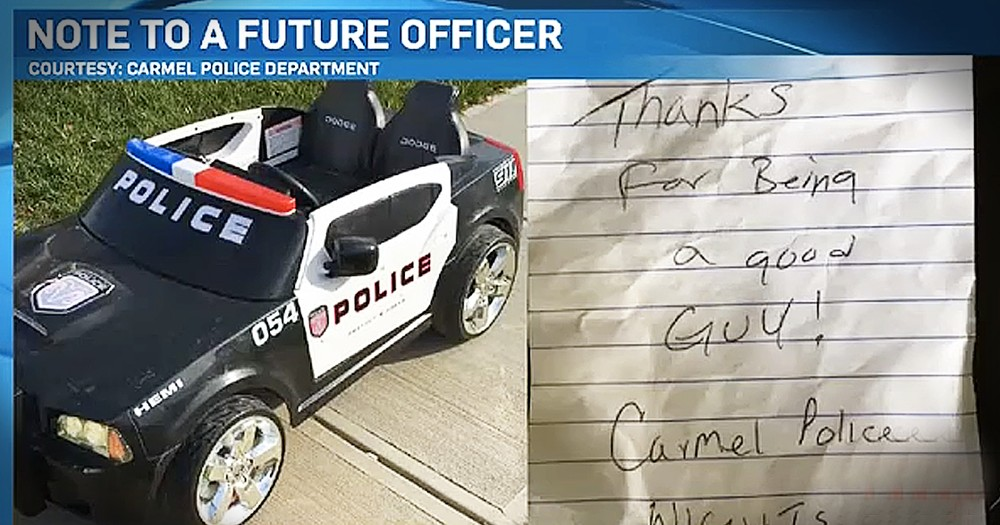 Police Officers Leave Thank You Note On Young Boy's Toy Car