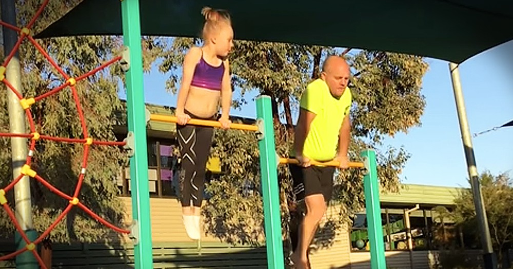 Father Hilariously Tries Out Daughter's Gymnastics Routine