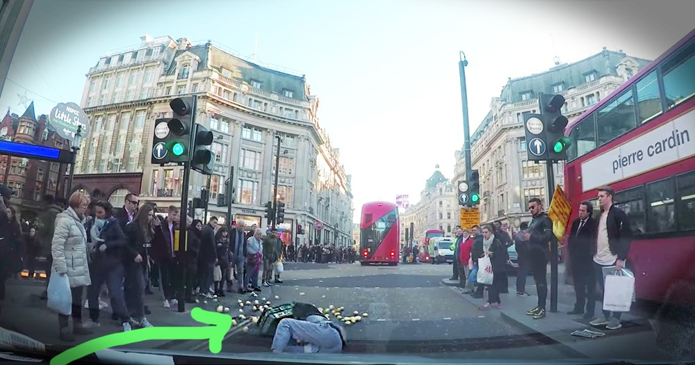 Dashcam Catches Incredible Moment Of Kindness For A Fallen Man