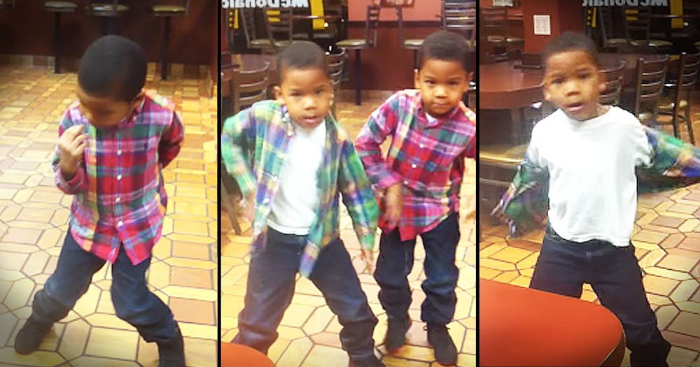Twin Boys Have Adorable Dance Off At McDonald's