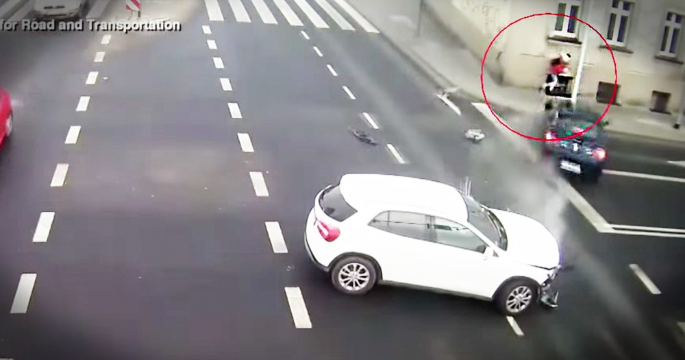 Light Post Miraculously Saves Woman From An Out Of Control Car