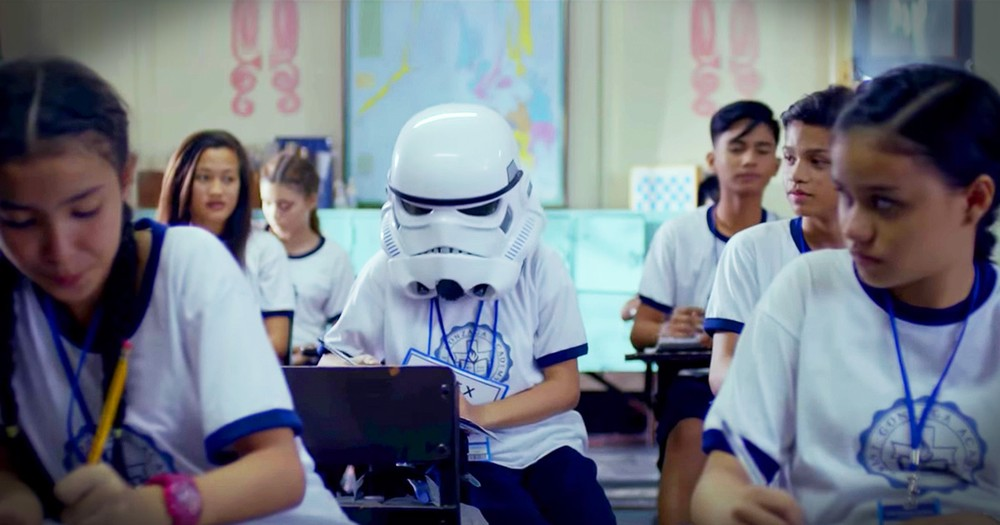 Student Who Never Takes Off A Storm Trooper Helmet Gets Heartwarming Surprise From Classmates