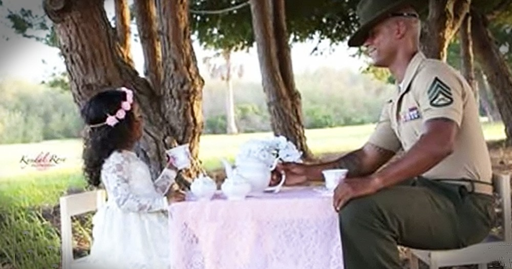 Marine Dad And 4-Year-Old Daughter Share Precious Tea Party