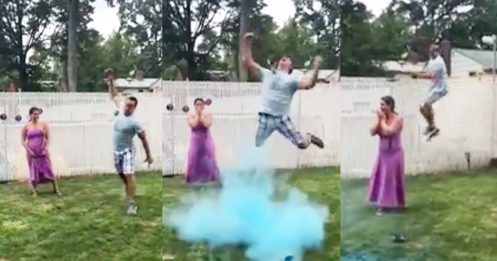 Excited Dad's Over-The-Top Reaction To Gender Reveal