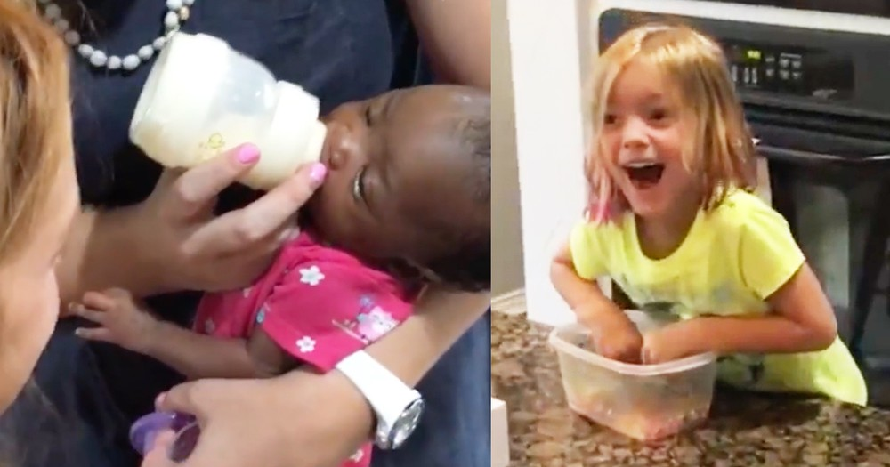 Parents Lovingly Surprise Daughters With Newly Adopted Baby