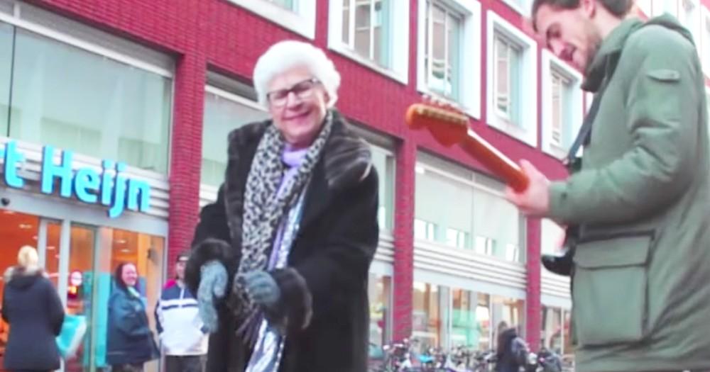 Hilarious Grandma Dances With Sidewalk Street Performer